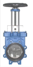 Knife gate valves with manual drive